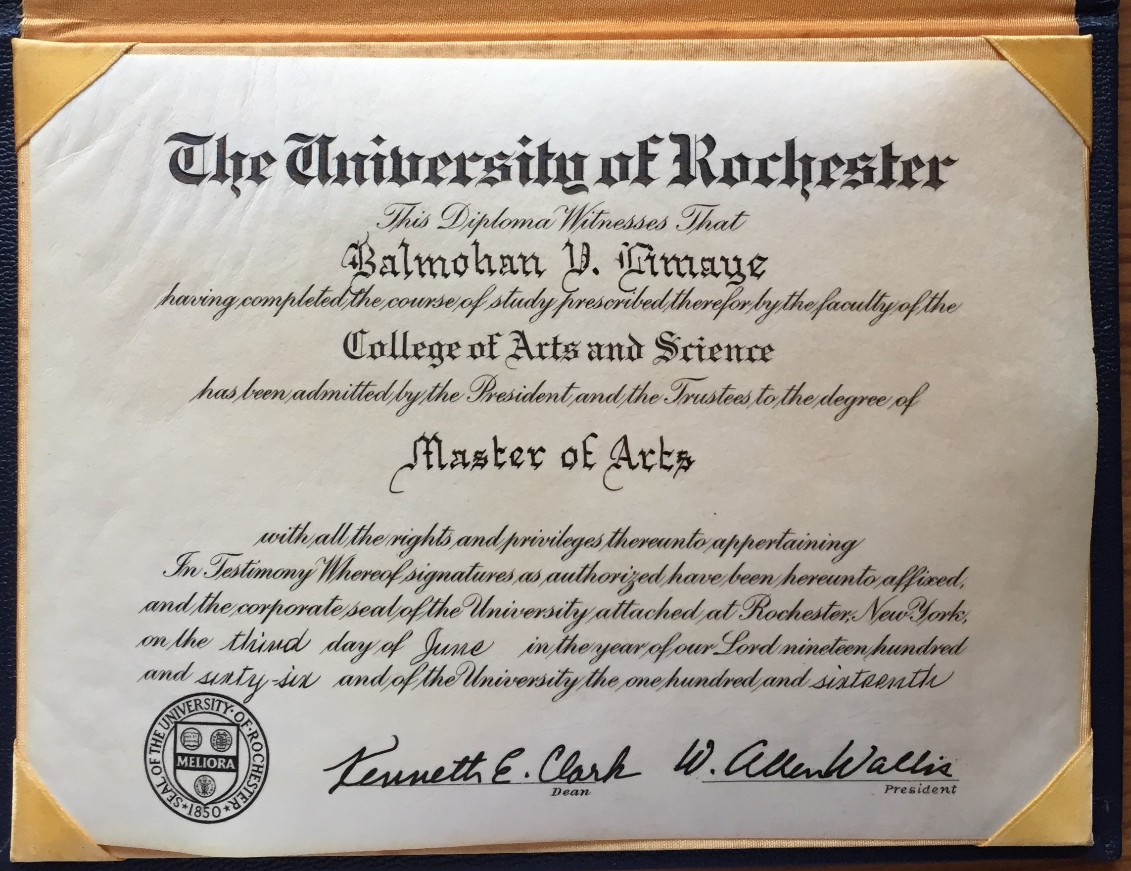 MA Degree from Rochester