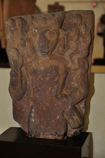 अजमुखी नैगमेषाची वालुकाश्मात घडवलेली प्रतिमा