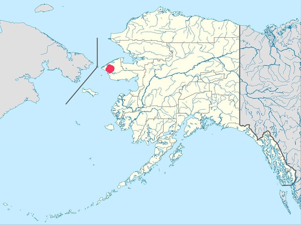 अलास्का आणि तेथील 'ब्रेव्हिग मिशन' हे गाव (लाल रंगाच्या ठिपक्याने दर्शवले आहे)